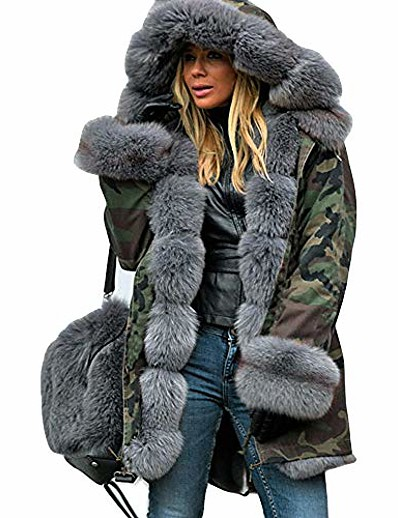 cheap Plus Size Outerwear-womens coats ski jackets plus size camo fluffy fuzzy faux fur hooded cuff casual loose warm padded parkas autumn winter