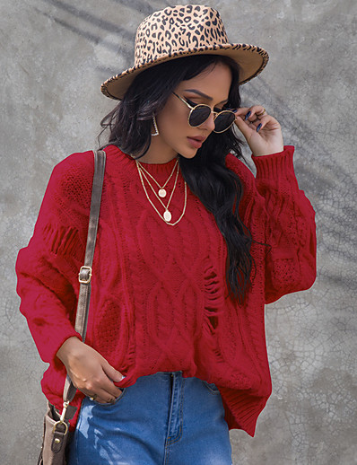 cheap Sweaters & Cardigans-Women's Knitted Solid Color Jumper Long Sleeve Sweater Cardigans Crew Neck Fall Winter White Red
