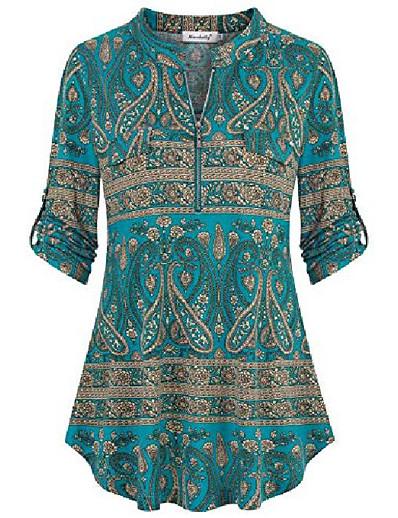 abordables NOUVELLE DANS-hauts tuniques pour leggings pour femmes, chemisier à manches courtes d'été mode 2020 vêtements d'affaires décontractés sortir tenues élégantes chemises paysan en mousseline de soie dames aqua beige