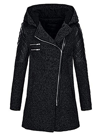 cheap Coats & Trench Coats-Women's Jacket Regular Solid Colored Daily Basic Rabbit Fur Navy Black Wine S M L / Cotton