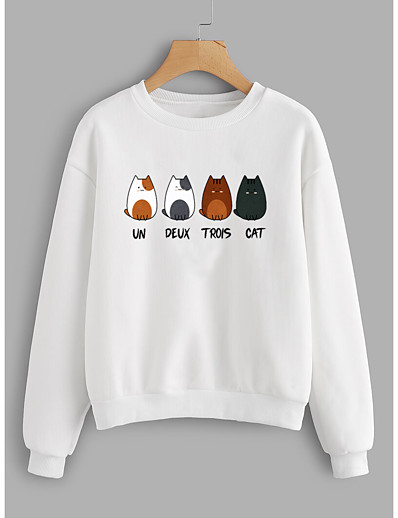 cheap Hoodies & Sweatshirts-Women's Pullover Sweatshirt Cat Graphic Text Daily Weekend Other Prints Basic Casual Hoodies Sweatshirts  Cotton Slim White Yellow Blushing Pink / Letter