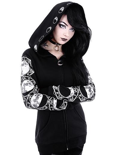 cheap Hoodies & Sweatshirts-Women's Graphic Hoodie Zip Up Hoodie Sweatshirt Zipper Daily Halloween Hoodies Sweatshirts  Black