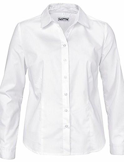 abordables NOUVELLE DANS-chemisier oxford simple boutonné à manches longues pour femmes avec stretch (s, blanc)
