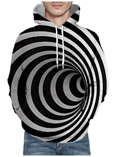 cheap Men's 3D-Men's Pullover Hoodie Sweatshirt Stripes Graphic Abstract Front Pocket Hooded Daily 3D Print 3D Print Casual Hoodies Sweatshirts  Long Sleeve Black