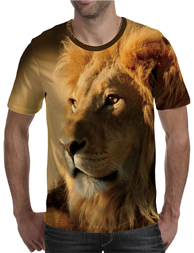 cheap Men's 3D-Men's T shirt Shirt 3D Print Graphic Lion Animal Plus Size Print Short Sleeve Daily Tops Elegant Exaggerated Round Neck Yellow
