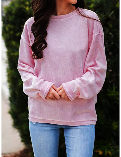 cheap TOPS-Women's T-shirt Solid Colored Long Sleeve Patchwork Round Neck Tops Hawaiian Basic Top Blue Purple Blushing Pink