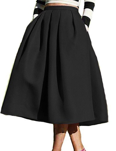 abordables Pantalons et Jupes Femme-jupe mi-longue plissée plissée taille haute pour femme jupe de rue taille haute bleu marine