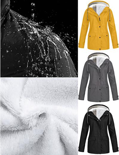 abordables Tendances 2021-Femme Couleur Pleine Militaire Printemps & Automne Trench-coat Longue Quotidien Manches Longues Polyster Manteau Hauts Noir