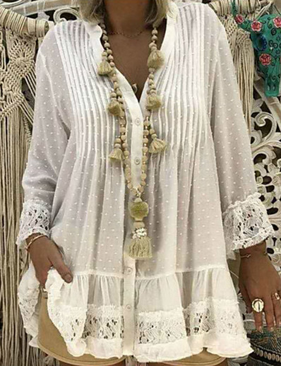 cheap Mini Dresses-Women's A-Line Dress Short Mini Dress - 3/4 Length Sleeve Polka Dot Patchwork Spring Fall Casual Cotton 2020 White Blue Yellow Blushing Pink Khaki S M L XL XXL 3XL 4XL 5XL