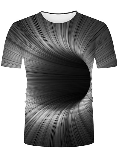 cheap NEW IN-Men's Graphic optical illusion T-shirt Print Short Sleeve Daily Tops Basic Round Neck Black / White