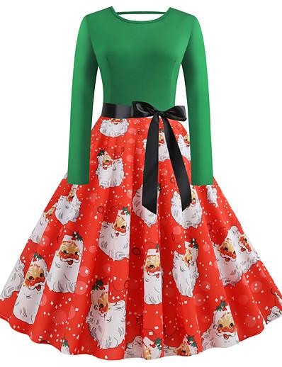 cheap Christmas Dresses-Women's Knee Length Dress Sheath Dress Green Long Sleeve Patchwork Print Round Neck Winter Christmas Vintage 2021 Slim S M L XL XXL 3XL 4XL 5XL