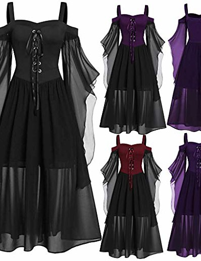 cheap PLUS SIZE-womens goth dress plus size cold shoulder tie front lace sleeve halloween dresses fashion lace up vintage gothic dresses [us stock]