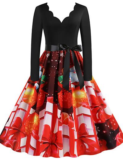 preiswerte Knielange Kleider-Damen A-Linie Kleid Knielanges Kleid - Langarm Druck Patchwork Druck Frühling Herbst Elegant Weihnachten 2020 Rote Grün Leicht Blau S M L XL XXL 3XL