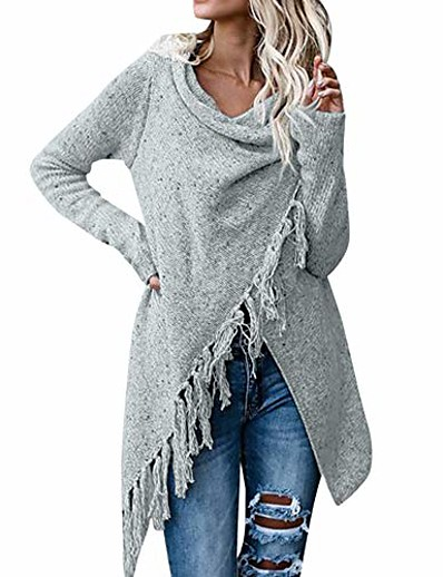 cheap Outerwear-women's tassel hehygcgh7y sweater long cardigan hygcgh7y knitwer pullover tunic outwear poncho coat gray