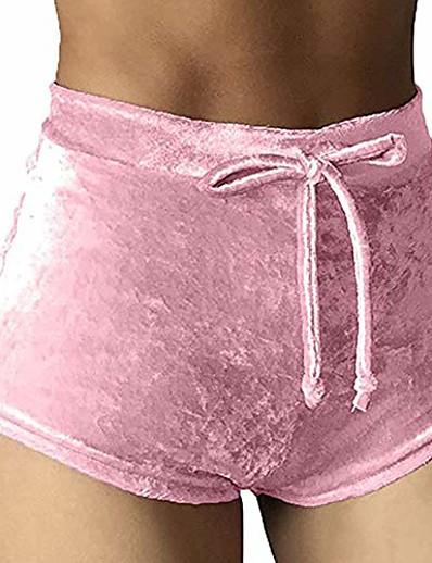 abordables Shorts pour femmes-Short de butin décontracté décontracté taille haute en velours taille haute pour femme x-large rose
