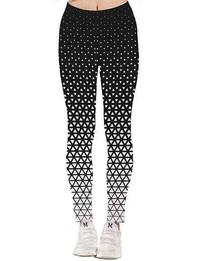 abordables Bas-Femme Sportif Yoga Séchage rapide Grandes Tailles Slim Quotidien Leggings Pantalon Formes Géométriques Cheville Taille haute Noir