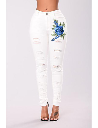 cheap Bottoms-Women's Basic Streetwear Comfort Denim Skinny Daily Pants Jeans Pants Flower Ankle-Length Cut Out Embroidered Hole High Waist White