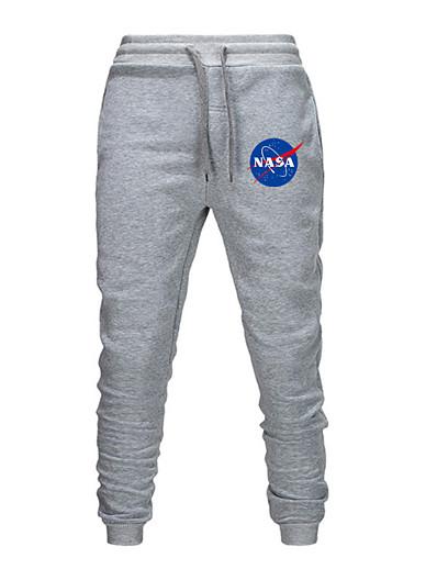 cheap Men's Bottoms-men's nasa collection fleece jogger pants, heather grey emb, xx-large