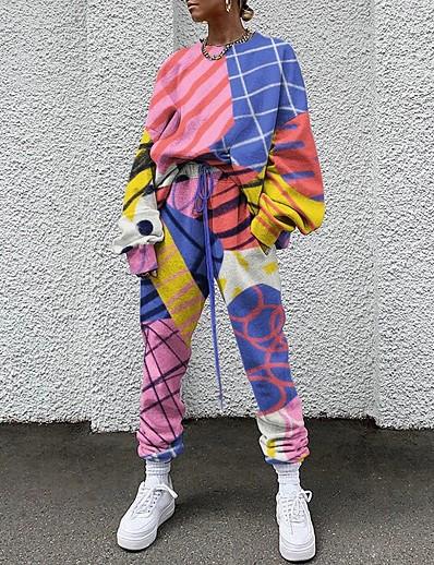 cheap JUMPSUITS & ROMPERS-Women's Basic Tie Dye Two Piece Set Crew Neck Sweatshirt Pant Patchwork Drawstring Tops / Loose