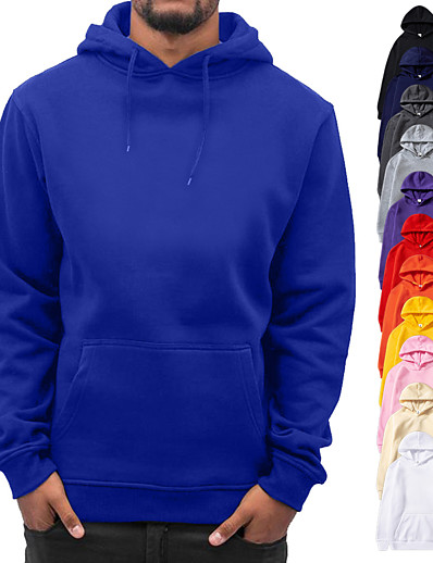cheap Running, Jogging & Walking-Men's Long Sleeve Hoodie Sweatshirt Top Casual Athleisure Cotton Quick Dry Breathable Soft Fitness Gym Workout Performance Running Training Sportswear Solid Colored White Black Blue Purple Yellow Red