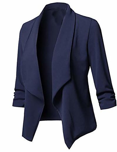 abordables Blazers-Veste de blazer à manches 3/4 extensible légère pour femmes Dermanony Cardigan avant ouvert pour travail décontracté Veste extensible manteau marine