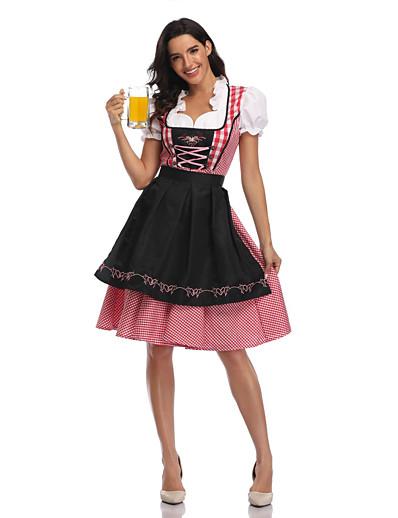 cheap Cosplay & Costumes-Oktoberfest Beer Dirndl Trachtenkleider Women's Dress Apron Bavarian Vacation Dress Costume Red+Black Red Green / Tulle / Cotton