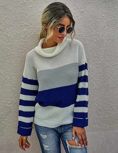 cheap Sweaters & Cardigans-Women's Stylish Knitted Color Block Pullover Acrylic Fibers Long Sleeve Loose Sweater Cardigans Turtleneck Fall White Black Blue
