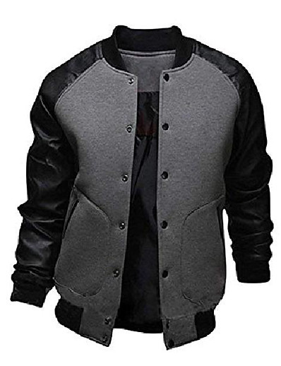 cheap Men's Outerwear-mens fashion splicing sleeve letterman jacket varsity baseball bomber jacket