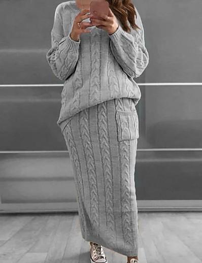abordables Ensemble deux pièces-Femme Chic de Rue Sophistiqué Couleur unie Rendez-vous Travail Ensemble deux pièces Chandail Robe pull Jupe Patchwork Hauts / Ample