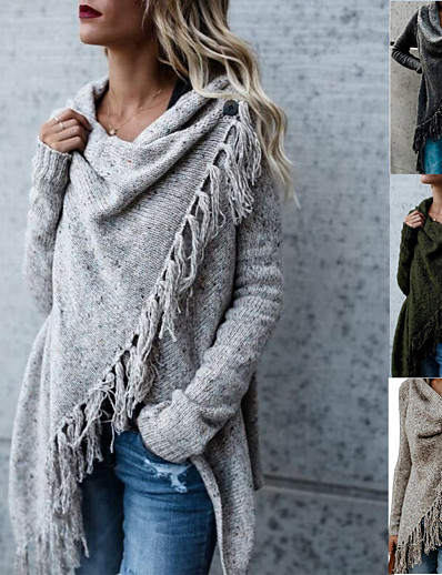 cheap Sweaters & Cardigans-Women's Basic Knitted Tassel Solid Color Poncho Sweater Cotton Long Sleeve Sweater Cardigans Crew Neck Fall Winter Army Green Khaki Light gray