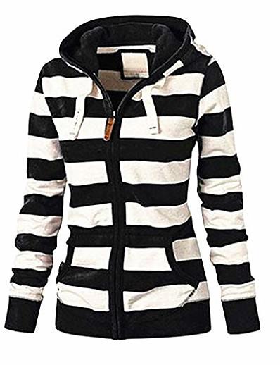 cheap Outerwear-Women Casual Hoodies Long Sleeve Striped Cotton Sweatshirt Soft Zipper Closure Sweater Tops with Pockets