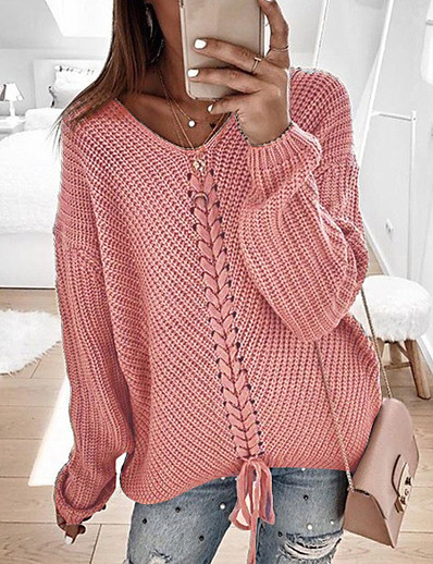 cheap Sweaters & Cardigans-Women's Casual Knitted Solid Colored Pullover Long Sleeve Sweater Cardigans V Neck Spring Fall Wine Red Black Yellow