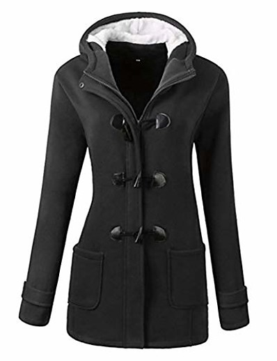 cheap OUTERWEAR-women outdoor hooded horn leather buckle solid coat outwear down dark gray