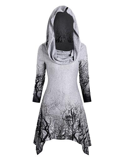abordables Hauts grande taille-Tunique Femme Quotidien Grandes Tailles Feuille Manches Longues Asymétrique col bénitier Hauts Haut de base Noir Violet Vin