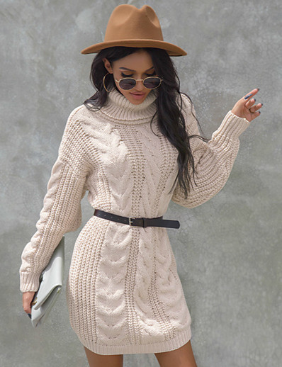 cheap Sweater Dresses-Women's Knitted Solid Color Pullover Long Sleeve Sweater Cardigans Turtleneck Fall Black Red Beige
