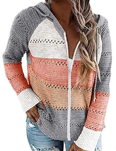 cheap Sweaters & Cardigans-women striped color block sweater cardigans casual v-neck long sleeve knitted sweater hollow out coat with hood grey