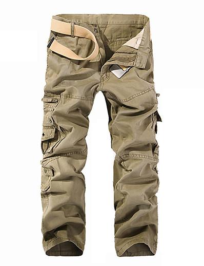 abordables Bas pour hommes-Homme Actif basique Extérieur Coton Quotidien Sports Chino Pantalon cargo Fit Pantalon Couleur Pleine Toute la longueur Multi Pocket Noir Vert Véronèse Kaki
