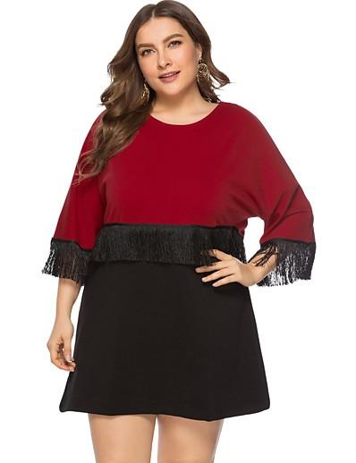 abordables NOUVELLE DANS-Femme Robe Trapèze Mini robe Courte - Manches 3/4 Bloc de Couleur Franges Automne Grandes Tailles Sexy 2020 Rouge XL XXL 3XL 4XL 5XL