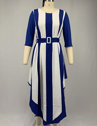 abordables NOUVELLE DANS-Femme Robe Fourreau Robe Maxi longue - Manches 3/4 Rayé Patchwork Imprimé Printemps Simple 2020 Bleu Violet Rouge S M L XL XXL 3XL 4XL 5XL