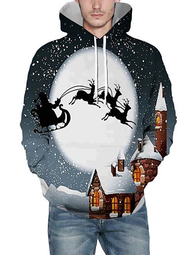 cheap NEW IN-Men's Pullover Hoodie Sweatshirt 3D Graphic Reindeer Hooded Christmas Christmas Hoodies Sweatshirts  Long Sleeve Gray