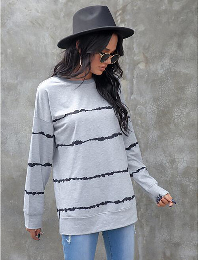 cheap Sweaters & Cardigans-Women's Striped Cardigan Long Sleeve Sweater Cardigans Crew Neck Fall Gray