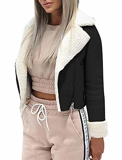 cheap Coats & Trench Coats-short faux shearling bomber jacket women's lapel suede leather buckle lamb motorcycle jackets coat by-newonesun black