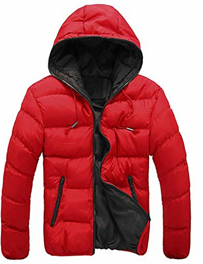 cheap Men's Outerwear-Men's Coat Parka Solid Color Polyester Black+Green / Red+Black / Black / Orange M / L / XL