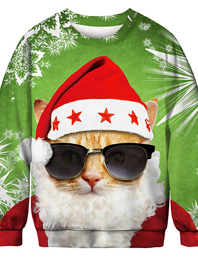 cheap NEW IN-Men's Pullover Sweatshirt Cat Graphic Ugly Christmas Round Neck Party Party Christmas Hoodies Sweatshirts  Long Sleeve Light Green