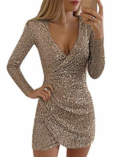 abordables Robes de Soirée-femmes sexy robe à paillettes col en v profond à manches longues wrap mini party clubwear robes de soirée or
