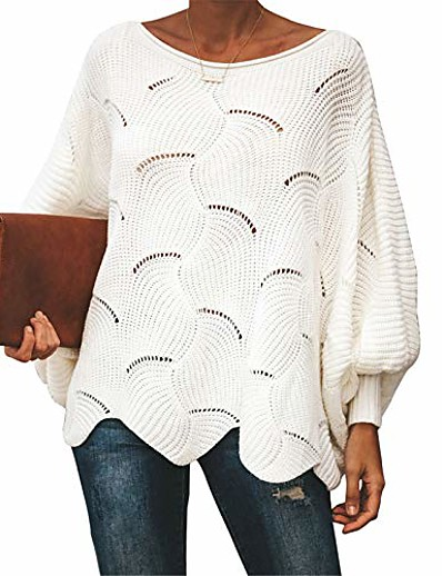 cheap Sweaters & Cardigans-oversized pullover sweater for womens off shoulder batwing puff sleeve loose hollow out casual jumper tops white