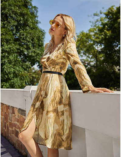 cheap NEW IN-Women's Wrap Dress Knee Length Dress - Long Sleeve Geometric Tie Dye Print Fall Winter V Neck Casual Vintage 2020 Brown S M L XL