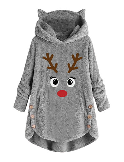 cheap CHRISTMAS-womens fleece hoodie pullover autumn winter plush warm cat embroidery plus size hooded tops button sweater