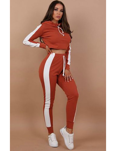 cheap JUMPSUITS & ROMPERS-Women's Color Block Casual Two Piece Set Hooded Hoodie Pant Drawstring Tops / Slim