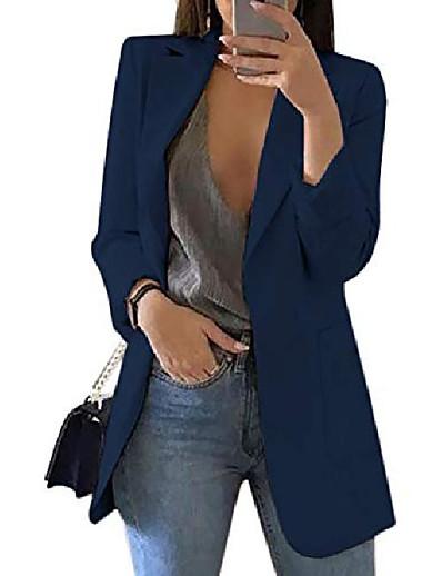 abordables Blazers Femme-Manteau à col rabattu à manches longues pour femmes de couleur unie pour dames costume d'affaires cardigan veste costume blazer tops